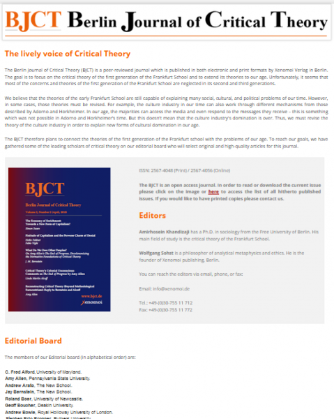 Die Homepage des 'Berlin Journal of Critical Theory'